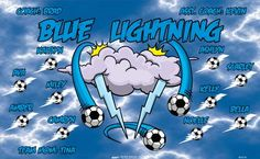 Blue Lightning B55514  digitally printed vinyl soccer sports team banner. Made in the USA and shipped fast by BannersUSA.  You can easily create a similar banner using our Live Designer where you can manipulate ALL of the elements of ANY template.  You can change colors, add/change/remove text and graphics and resize the elements of your design, making it completely your own creation.