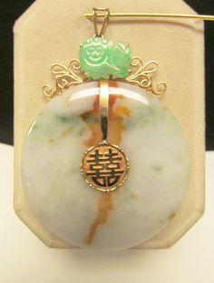 Vintage Estate Larger 14K Gold  Translucent Mottled with Lavender Green Jade and Foo Dog Accent Pendant by Alohamemorabilia