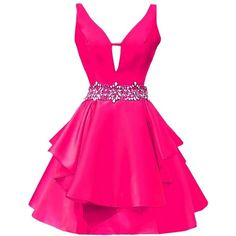 Icy Sun Women's V Neck Crystals Homecoming Dresses A Line Satin Short... ($68) ❤ liked on Polyvore featuring dresses, gowns, short dresses, a-line dresses, short homecoming dresses, short pink dress and v neck homecoming dress