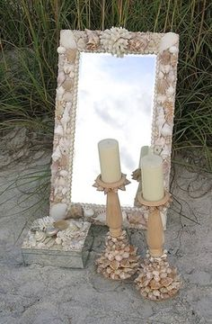 Custom seashell mirror, seashell candlesticks, seashell mirrored box.