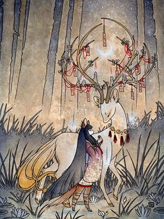 The Wish - Kitsune Fox Deer Yokai