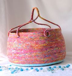 Wexford Treasures: Pink Knitting Basket, Handmade Coiled Fabric Basket, Lovely…