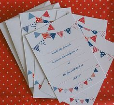 B'day Invitation Cards with bunting prints!