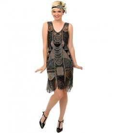 This is proper sophistication, dolls! A stunning hand beaded flapper dress ideal for any 1920s themed event. The breatht...Price - $340.00-DxnaGxZ1