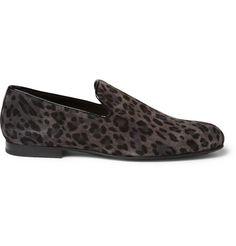 Jimmy Choo Sloane Leopard-Print Suede Slippers | MR PORTER