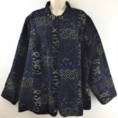 Womens Plus Size 3X CJ Banks Embroidered Blue Tapestry Zip Jacket 57 inch chest #CJBanks #BasicJacket #Casual