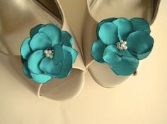 Teal Satin Flower shoe clips Handmade by on Etsy Teal Flowers, Satin Flowers, Teal Heels, Boots And Leggings, Flower Shoes, Cocktail Attire, Shades Of Teal, Cute Wedding Ideas, Shoe Clips