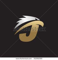 letter J eagle head silver gold logo black background