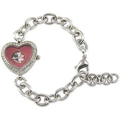 Florida State Seminoles (FSU) Ladies Silver Heart Watch