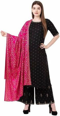 Product Description:-  Item Contain - 3 Pc Set (1 Pc Kurti,1 Pc Palazzo, 1 Pc Dupatta)  Material : 100% Rayon  Length : Long  Size : All Size Available( M,L,XL, XXL)  Pattern : Embroidered Work  Sleeves : Sleeve  Color : Black/Red( Show In Image )  Work : Beautiful Embroidered work  Model Height : 5.8''  Length : 48-50 Inches  Fit Type : Regular Fit  Color Declaration:-  There Might Be Slight Variation In The Actual Color Of The Product Due To Different Screen Resolutions