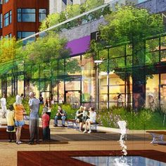 Tutorial, From Sketchup to Photoshop: The following image is a perfect example of my workflow. This illustration was one I did for a very talented group of architects. They were working on a mixed-use, urbanist community in New Orleans and needed some visuals to show the 'feel' of the project before any of the architecture was ironed out. I was given a SketchUP model with minimal conceptual architecture and a hand sketch on what this particular plaza should start to look like. This is the e