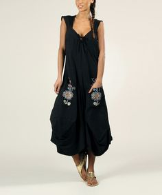 Black Floral Embroidered Pickup Maxi Dress | something special every day