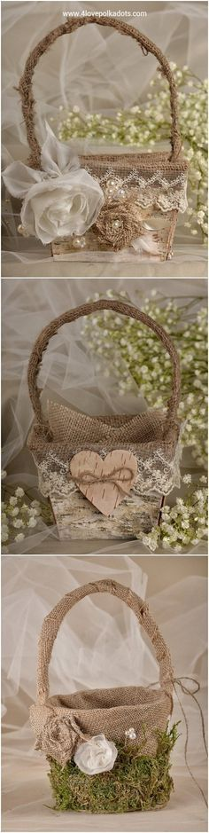 Rustic country burlap flower girl baskets #rusticwedding #countrywedding