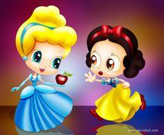 Cinderella & Snow White (Drawing by AliciaBel @deviantART) #Cinderella #SnowWhiteAndTheSevenDwarfs