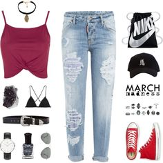 March Madness: High Tops by ffashioninspire on Polyvore featuring polyvore, fashion, style, Topshop, Dsquared2, Kiki de Montparnasse, Converse, NIKE, Vanessa Mooney and B-Low the Belt