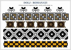 Semne Cusute: Romanian traditional motifs Beading Patterns, Embroidery Patterns, Knitting Patterns, Border Pattern, Hama Beads, Pixel Art, Cross Stitch, Traditional, Quilts