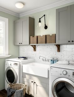 Invest in smart appliances for your next laundry update. Home Depot has an incre. Invest in smart appliances for your next laundry update. Home Depot has an incredible selection of the fixtures you need. White Laundry Rooms, Laundry Room Layouts, Laundry Room Cabinets, Small Laundry, Grey Cabinets, Laundry Room Design, Wall Cabinets, Laundry Room With Sink, Shoe Cabinets