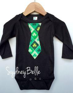 Size 3-6 mo St Patrick's Day tie appliqué by SydneyBelleBoutique