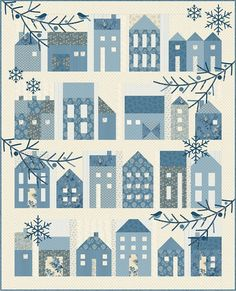 Winter Village quilt pattern with applique details. Finished quilt size is 52 1/2 x 66.