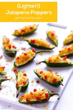 cup Panko breadcrumbs 4 strips bacon, cooked and crumbled 8 ounces whipped cream cheese (I used low-fat) cup shredded sharp chedd. Jalapeno Poppers, Jalapeno Popper Recipes, Finger Food Appetizers, Yummy Appetizers, Appetizer Recipes, Healthy Eating Recipes, Cooking Recipes, Poppers Recipe, Gimme Some Oven