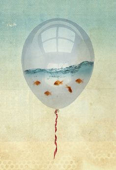 balloon fish freedom in a bubble Art Print by Vin Zzep - X-Small Balloon Fish, Red Balloon, Art Fantaisiste, Framed Art Prints, Canvas Prints, Ouvrages D'art, Bubble Art, Art Et Illustration, Fish Art