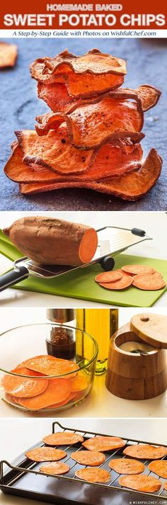Healthy Homemade Baked Sweet Potato Chips - bake at 275 on a wire rack for 50 minutes and flip half way through. Potato Recipes, Snack Recipes, Cooking Recipes, Appetizer Recipes, Healthy Cooking, Healthy Eating, Healthy Food, Good Healthy Recipes, Comidas Light