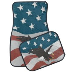 All American USA Flag and Eagle Car Mat