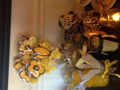 Bumble bee baby shower candy bar.  Used different size mason jars filled with yellow, black & white candy