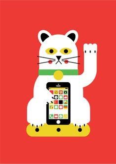 Fortune Cat by Ryan Chapman, via Behance