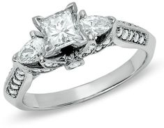Zales 1-1/6 CT. T.W. Princess-Cut Diamond Ring in 14K White Gold