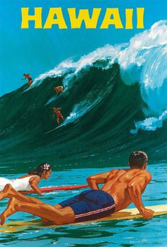 This travel poster promotes Hawaii, and focuses on surfing. It shows a man and a woman on surf boards in the foreground, with people on a wave in the distance. Travel Hawaii - surf's up! Vintage Surfing, Surf Vintage, Vintage Hawaiian, Retro Surf, Retro Vintage, Hawaii Surf, Hawaii Travel, Mexico Travel, Spain Travel
