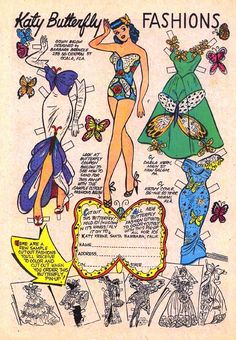 Katy Butterfly Fashions paper doll, as published in Katy Keene no. released by Archie publications, United States, by Bill Woggon. Photowall Ideas, Comic Art, Comic Books, Creation Art, Paper Dolls Printable, Origami, Archie Comics, Vintage Paper Dolls, Retro Toys