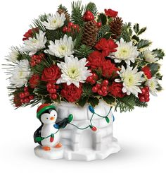 Order Send a Hug Deck The Igloo by Teleflora Send a Hug Deck The Igloo from Flowers on your local Lethbridge florist. For fresh and fast flower delivery throughout Lethbridge, AB area. Christmas Flower Arrangements, Christmas Flowers, Christmas Centerpieces, Floral Arrangements, Christmas Wreaths, Christmas Crafts, Christmas Decorations, Christmas Ornaments, Floral Centrepieces