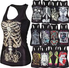 new 2015 women shirt Painting Cool Pattern 3D Skull bone Camisole Sexy print Vest Tanks Tops Drop shipping #Cheap #Popular