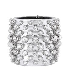 Tom Ford - Crystal-embellished metallic leather cuff - Punctuate evening ensembles on a glitzy, glam rock note courtesy of Tom Ford's glamorous accessory. Coated in metallic silver-tone leather, this cuff is topped off with crystals all over for an eye-catching, sparkling look. seen @ www.mytheresa.com