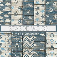 Seaside Digital Paper: Seaside Wood digital sea by DigiWorkshop