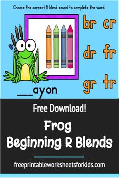 Are you teaching beginning R blends? Print out this free frog themed activity to practice some of the sounds in a fun way with your kindergarten and first-grade students. This spring literacy center can be set up really quickly! The free printable focuses on the blends br, cr, dr, fr, gr and tr and there are more than 30 words in total. #beginningrblends #frogthemedactivity #springliteracycenter #freeprintableworksheetsforkids Free Printable Worksheets, Worksheets For Kids, Free Printables, Toddler Preschool, Preschool Activities, Blending Sounds, English Projects, Easy Arts And Crafts, Smart Cookie