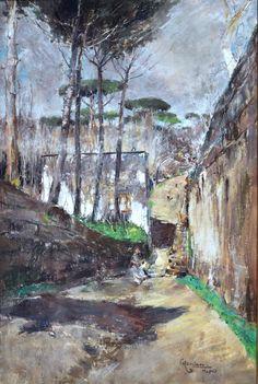 Casciaro Giuseppe (Ortelle, LE 1863 - Napoli 1941) Strada del vecchio Vomero pastelli su carta