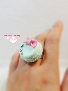 Teal lightweight paper clay cute bow macaron adjustable ring on Etsy, $11.06 AUD