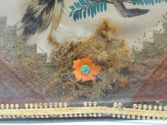 19th Century hand made mourning memorial shadow box, all original. Hand painted bird and tree limb with real feathers on the bird. Hand cut gold paper