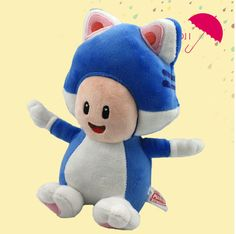 """Find More Movies & TV Information about NEW 1 PCS Super Mario 3D World Blue Cat Toad Plush Soft Toy Stuffed Animal Doll Pupazzo Gatto Neko Approx 20cm/8"""",High Quality mario brothers stuffed toys,China doll box Suppliers, Cheap mario party plush toys from M&J Toys Global Trading Co.,Ltd on Aliexpress.com"""