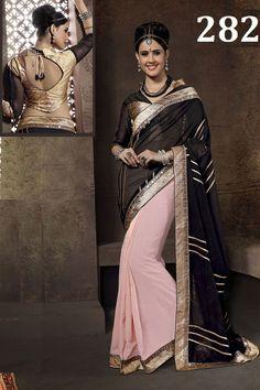 Pink-Black Designer Georgette Sari with Border-282 - $44