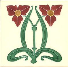 Historic Tiles - Tube Lined Art Nouveau Tiles - Twinflower