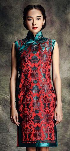 Traditional sleeveless brocade cheongsam