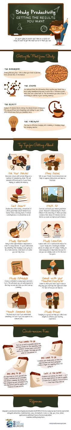 The Study Smart Infographic breaks things down in terms of the science of study and memory and gives some tips on approaching study for different stages.