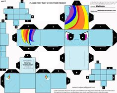 NEW rainbowdash cubee craft part 1 by Mallinda.deviantart.com