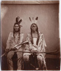1870 Stanley J Morrow portrait of Sioux Dog and Cherry Mouth, headman and chief of Gros Ventres. Yale Collection of Western Americana