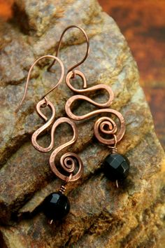 Hammered Copper Snake Coils with Obsidian Beaded Dangles