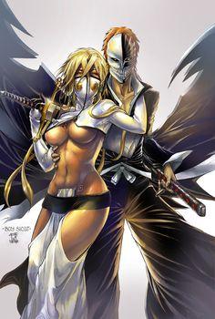 Tia Harribel & Ichigo from Bleach Shinigami, Manga Anime, Manga Art, Anime Art, Pinup, Drawn Art, Minions, Estilo Anime, Bleach Anime