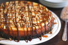 Turtle Cheesecake - get the recipe at barefeetinthekitchen.com